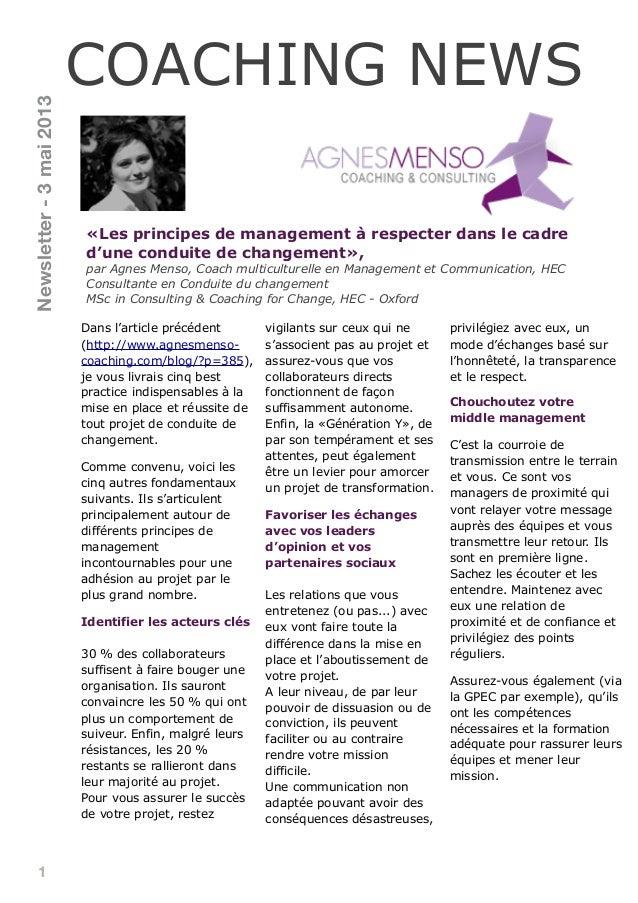 1«Les principes de management à respecter dans le cadred'une conduite de changement»,par Agnes Menso, Coach multiculturell...