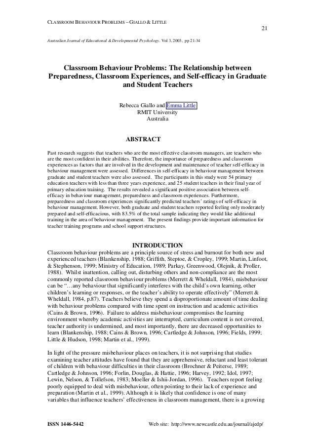 CLASSROOM BEHAVIOUR PROBLEMS – GIALLO & LITTLE 21 ISSN 1446-5442 Web site: http://www.newcastle.edu.au/journal/ajedp/ Aust...