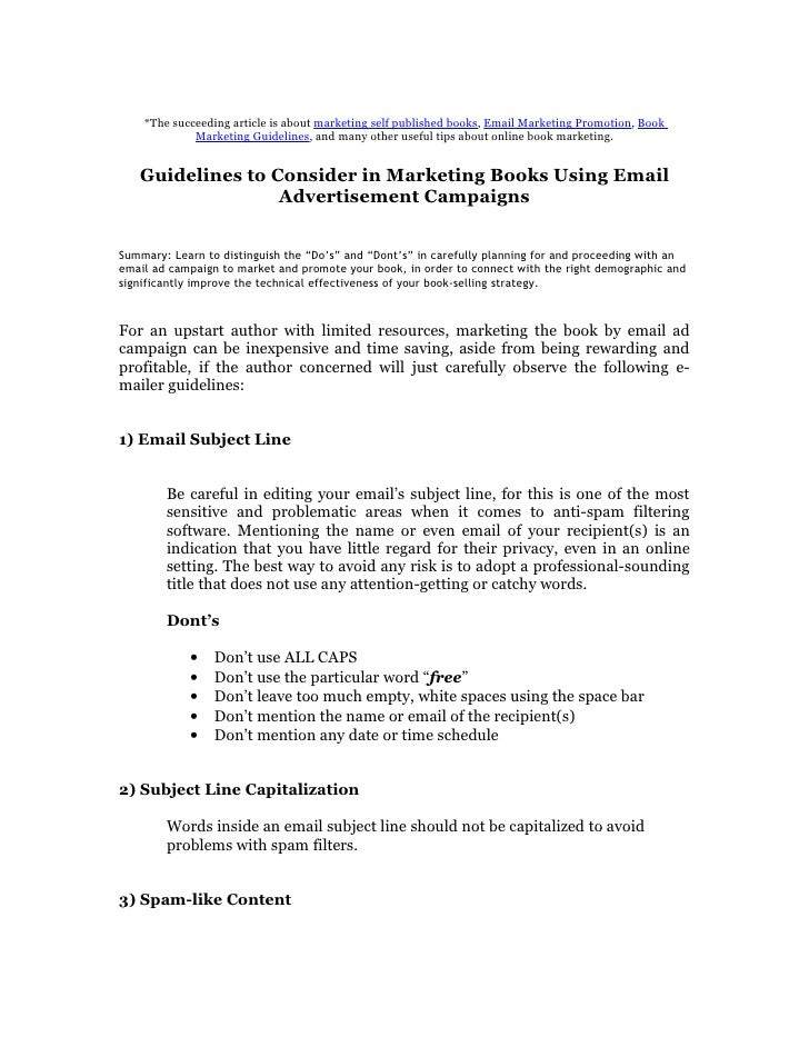 *The succeeding article is about marketing self published books, Email Marketing Promotion, Book              Marketing Gu...