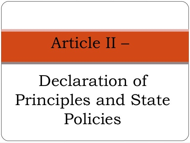 Article II – Declaration of Principles and State Policies