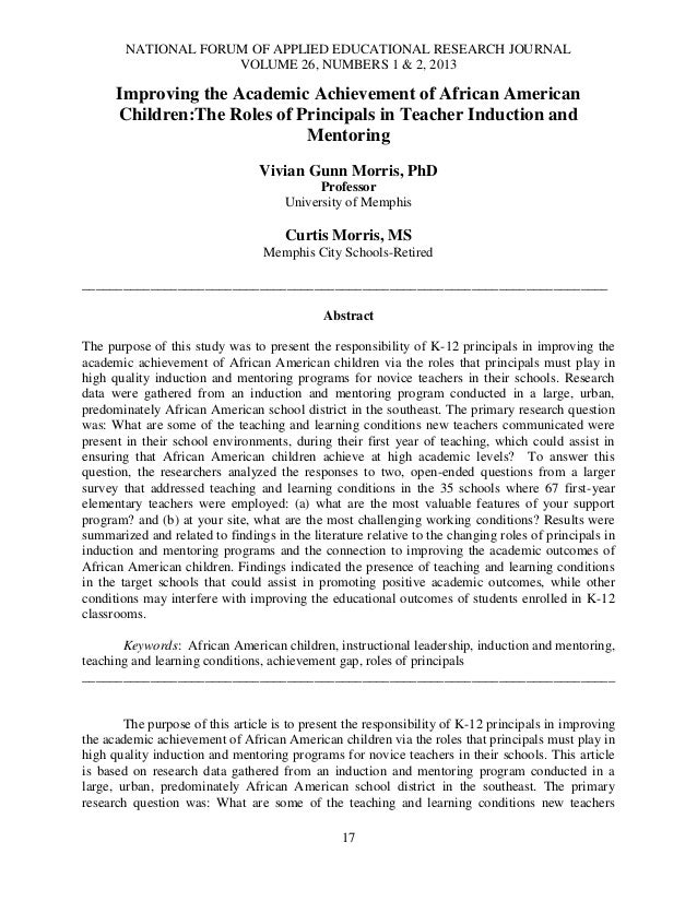 NATIONAL FORUM OF APPLIED EDUCATIONAL RESEARCH JOURNALVOLUME 26, NUMBERS 1 & 2, 201317Improving the Academic Achievement o...