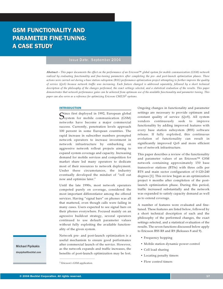 GSM FUNCTIONALITY ANDPARAMETER FINE-TUNING:A CASE STUDY                                           Issue Date: September 20...