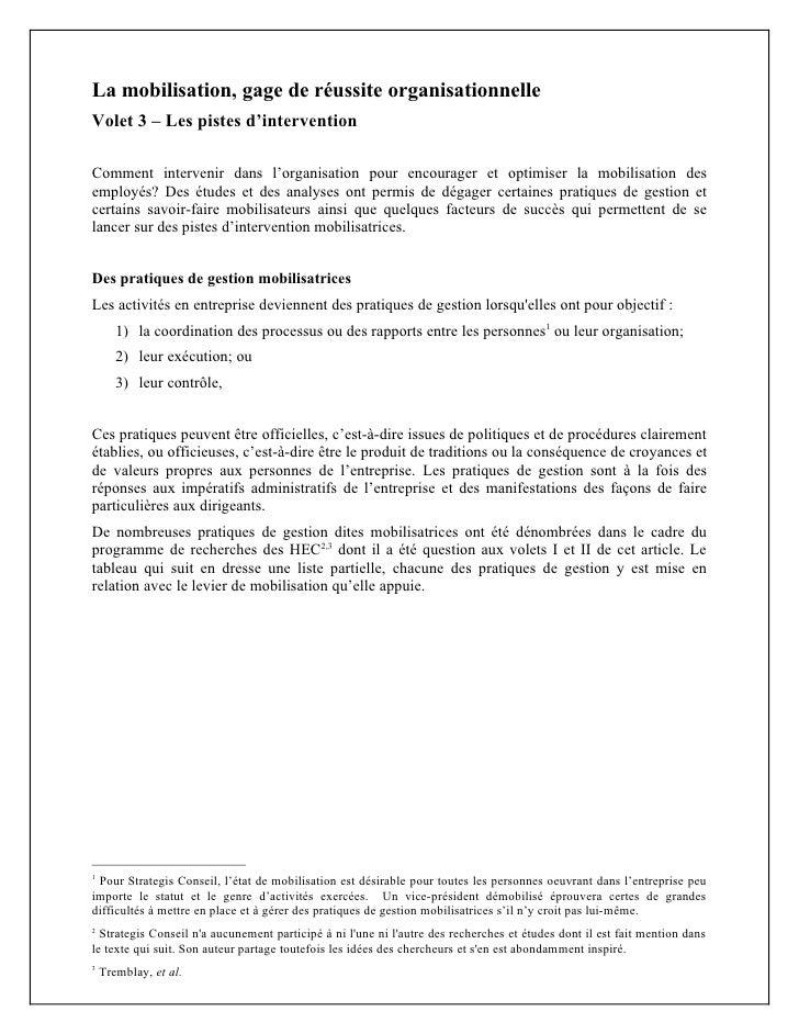 La mobilisation, gage de réussite organisationnelle – Les pistes d'intervention Des études et des analyses ont permis de d...
