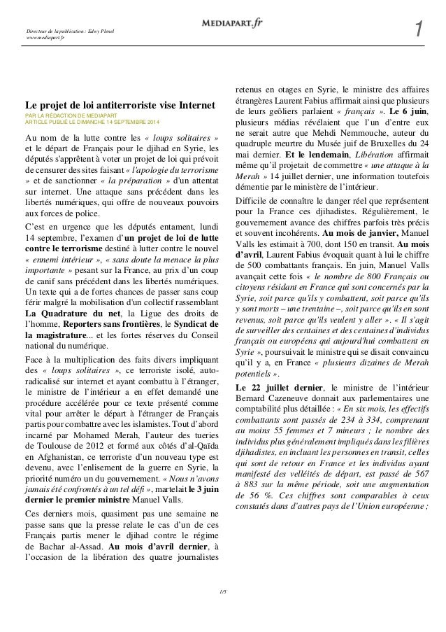 Directeur de la publication : Edwy Plenel  www.mediapart.fr 1  1/5  Le projet de loi antiterroriste vise Internet  PAR LA ...