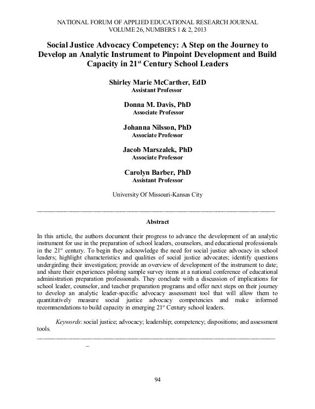 NATIONAL FORUM OF APPLIED EDUCATIONAL RESEARCH JOURNALVOLUME 26, NUMBERS 1 & 2, 2013Social Justice Advocacy Competency: A ...