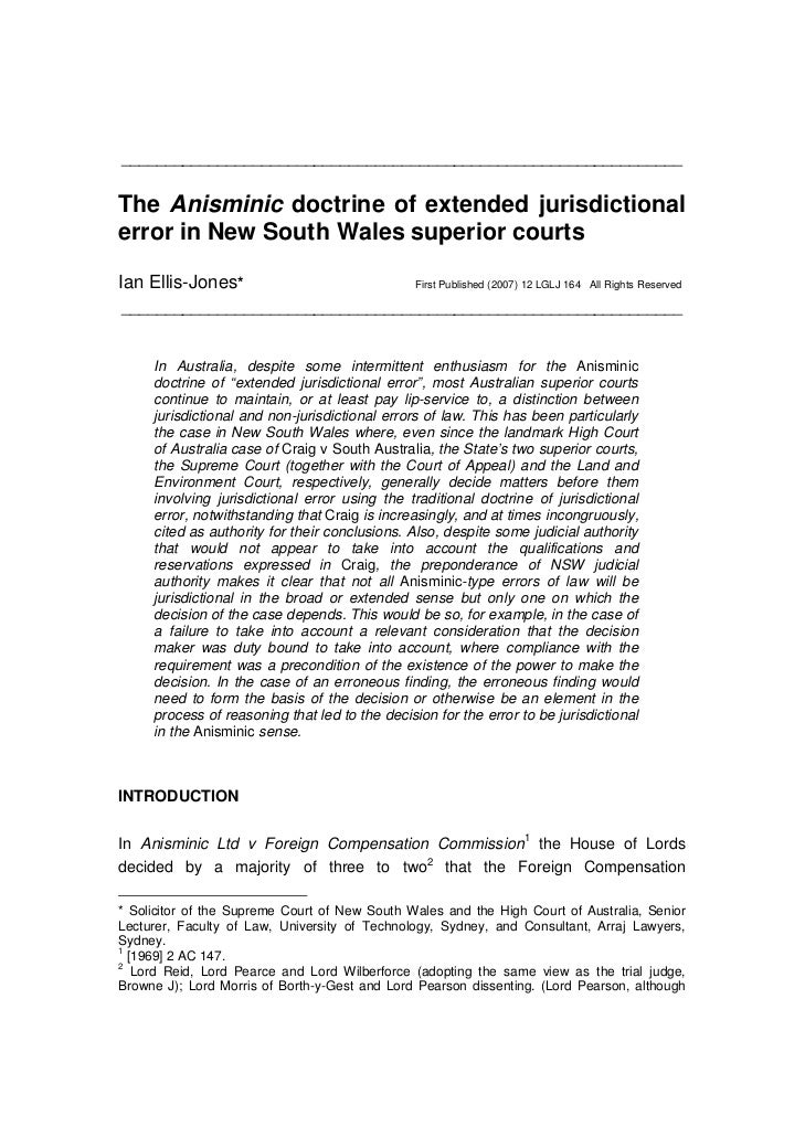 THE ANISMINIC DOCTRINE OF EXTENDED JURISDICTIONAL ERROR IN NEW SOUTH WALES SUPERIOR COURTS
