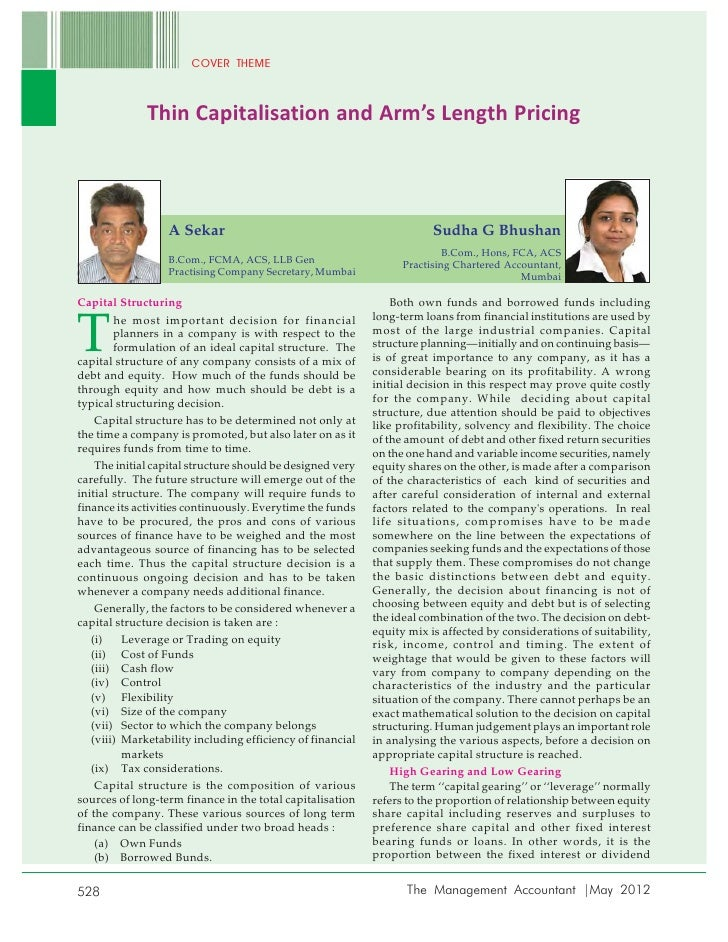 Article by ca. sudha g. bhushan on thin capitalisation