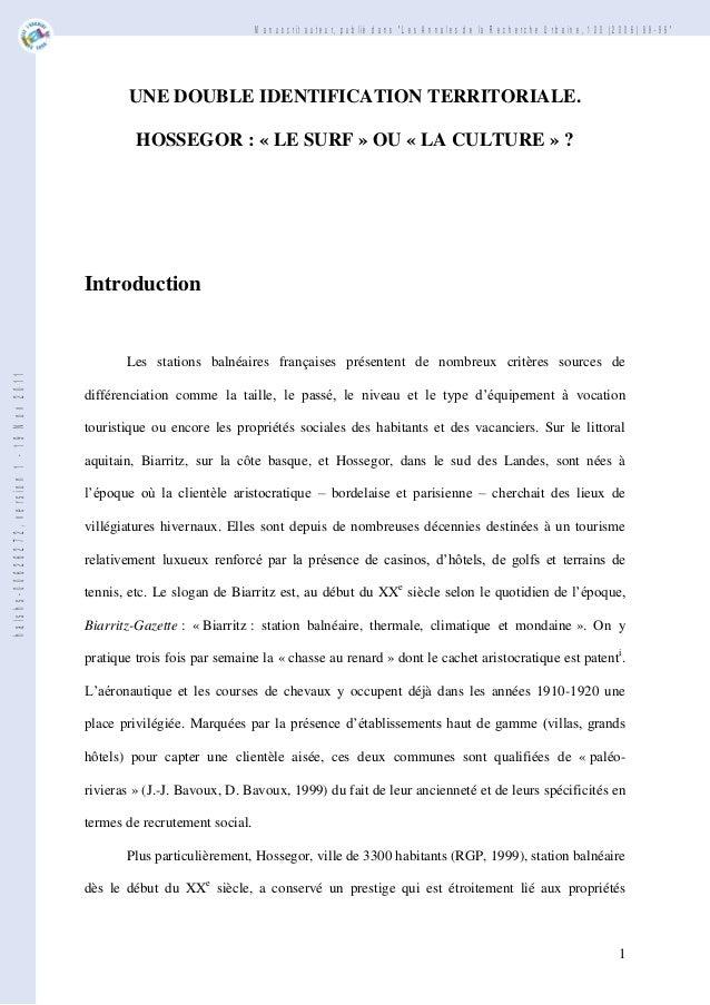 """Manuscrit auteur, publié dans """"Les Annales de la Recherche Urbaine, 100 (2006) 89-96""""  UNE DOUBLE IDENTIFICATION TERRITORI..."""