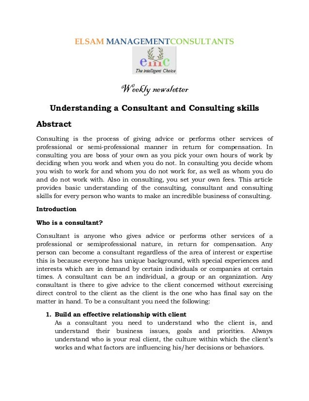 ELSAM MANAGEMENTCONSULTANTS                            Weekly newsletter    Understanding a Consultant and Consulting skil...