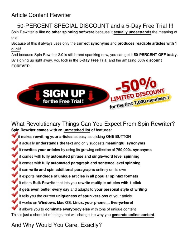 Article Content Rewriter   50-PERCENT SPECIAL DISCOUNT and a 5-Day Free Trial !!!Spin Rewriter is like no other spinning s...