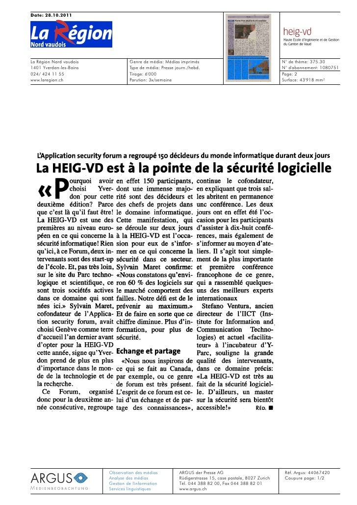 Date: 28.10.2011La Région Nord vaudois                  Genre de média: Médias imprimés                                   ...