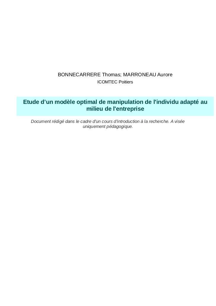 BONNECARRERE Thomas; MARRONEAU Aurore                                    ICOMTEC PoitiersEtude d'un modèle optimal de mani...