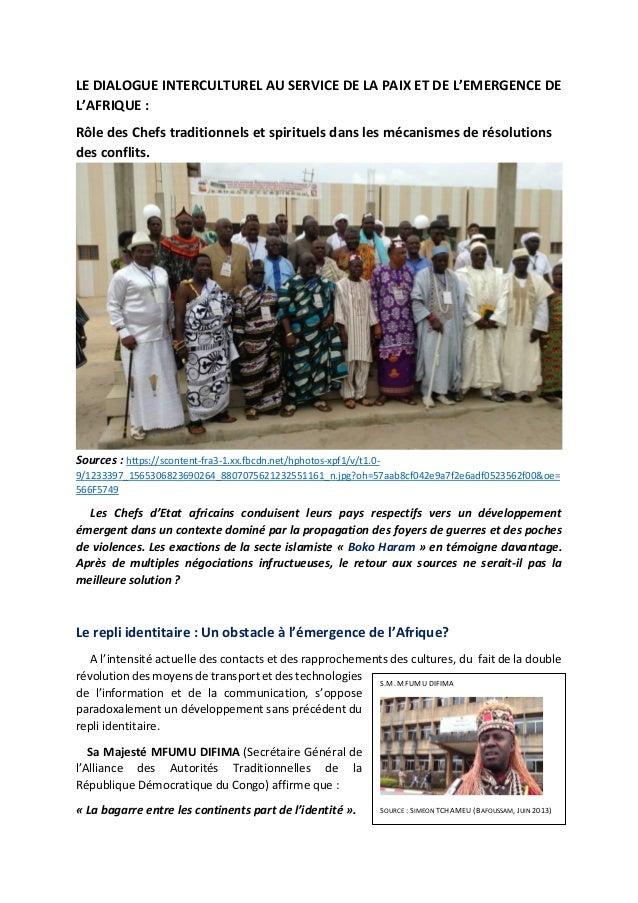 LE DIALOGUE INTERCULTUREL AU SERVICE DE LA PAIX ET DE L'EMERGENCE DE L'AFRIQUE : Rôle des Chefs traditionnels et spirituel...