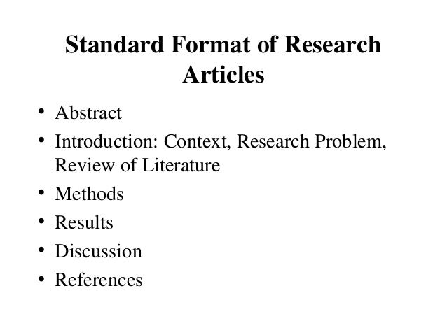 standard parts of a scientific research paper