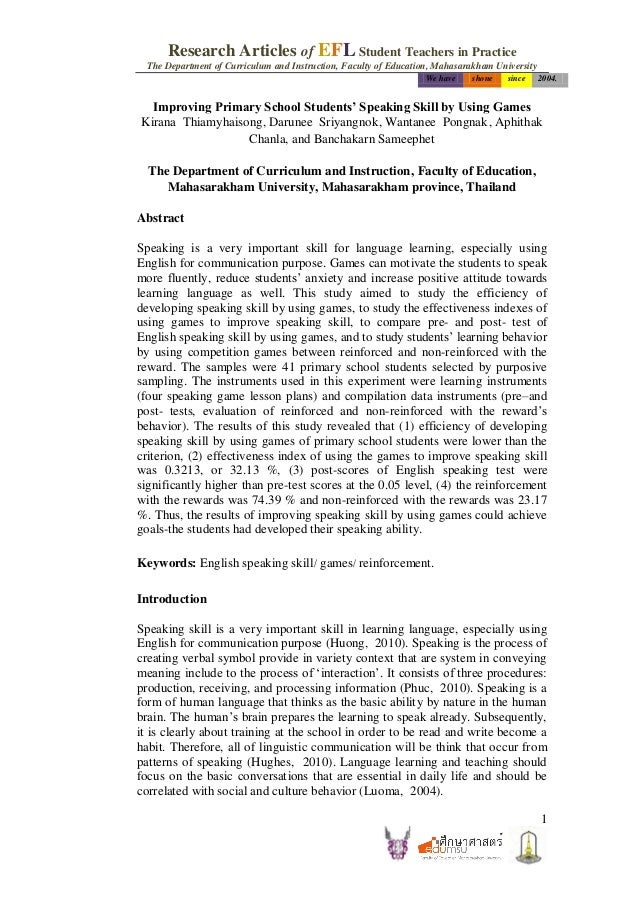 Research Articles of EFL Student Teachers in Practice  The Department of Curriculum and Instruction, Faculty of Education,...