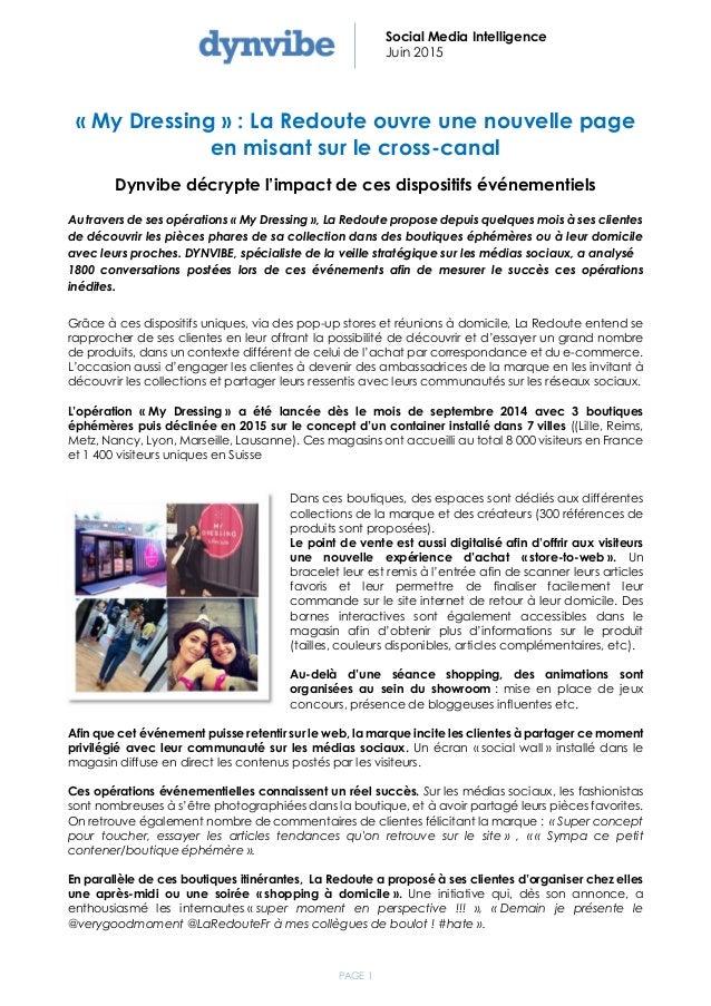 PAGE 1 Social Media Intelligence Juin 2015 « My Dressing » : La Redoute ouvre une nouvelle page en misant sur le cross-can...