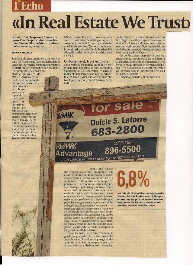 [Echo «In Real Estate We Trust>Le doute nest plus permis, Après avoir            bilières ont reculé, en 2012, pour la sec...