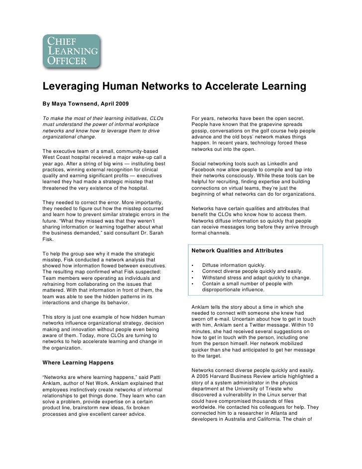 Leveraging Networks to Accelerate Learning