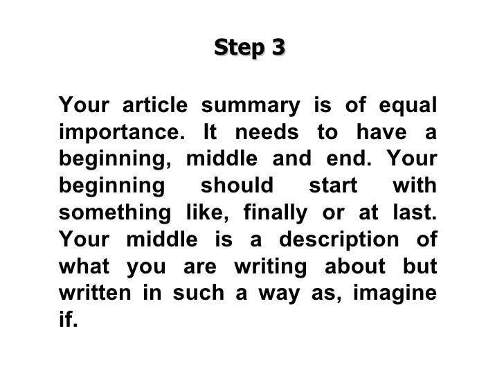Steps to writing a summary of an article