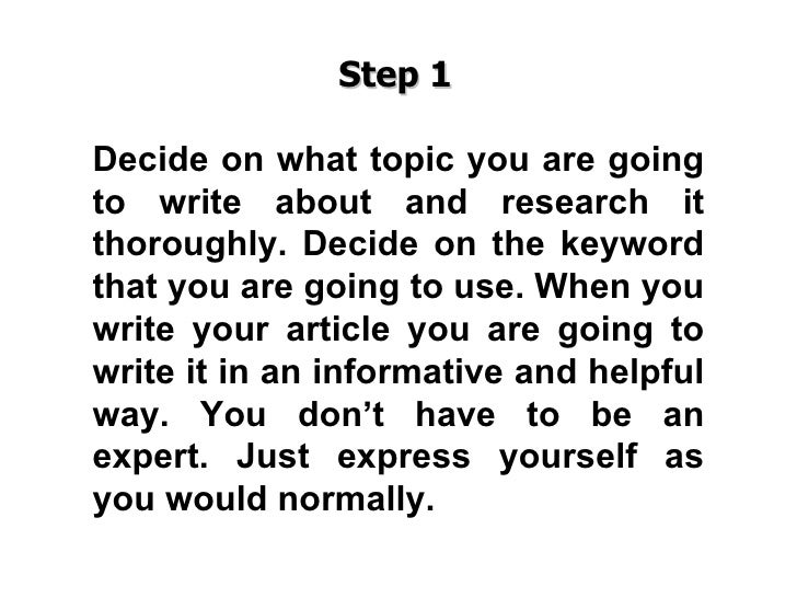 Steps to write an article