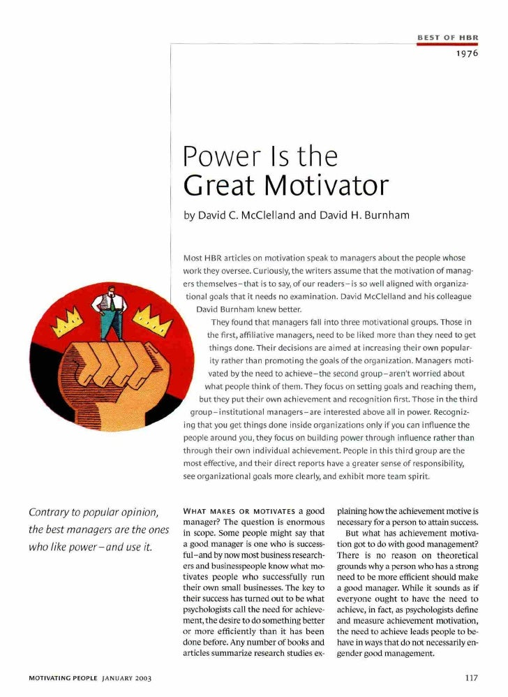 Article No 2   Power Is The Great Motivator