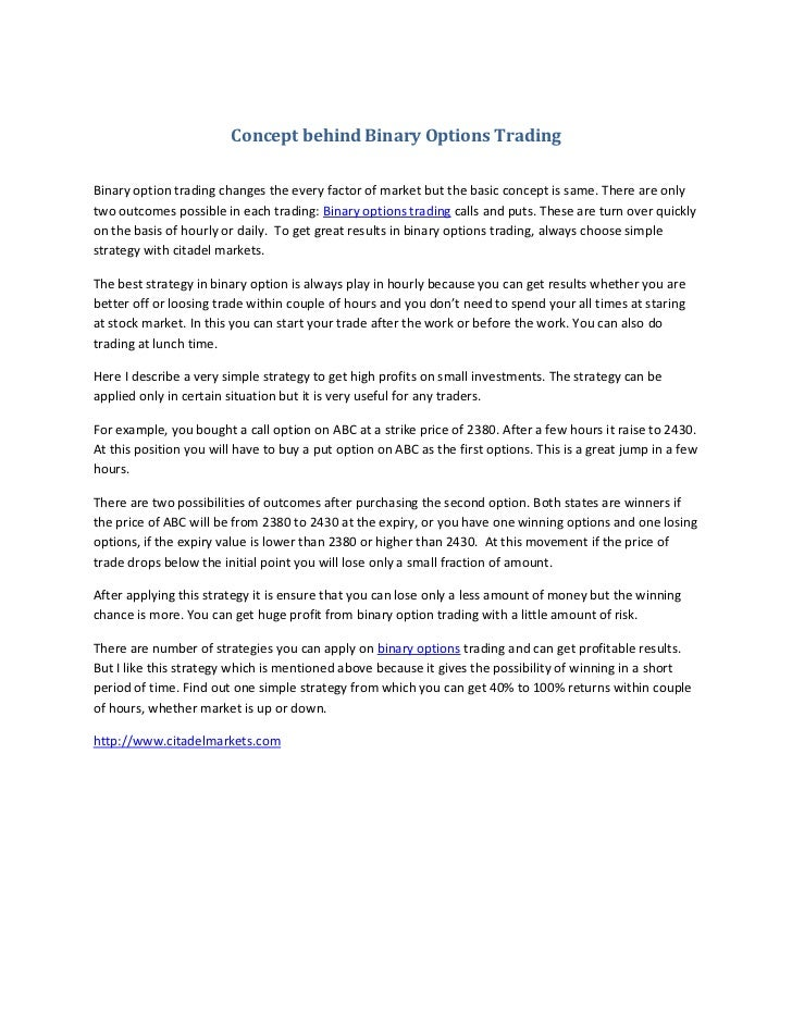 Binary option trading regulations