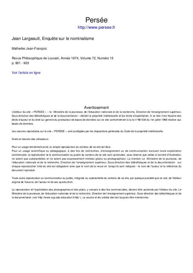 Persée http://www.persee.fr Jean Largeault, Enquête sur le nominalisme Malherbe Jean-François Revue Philosophique de Louva...
