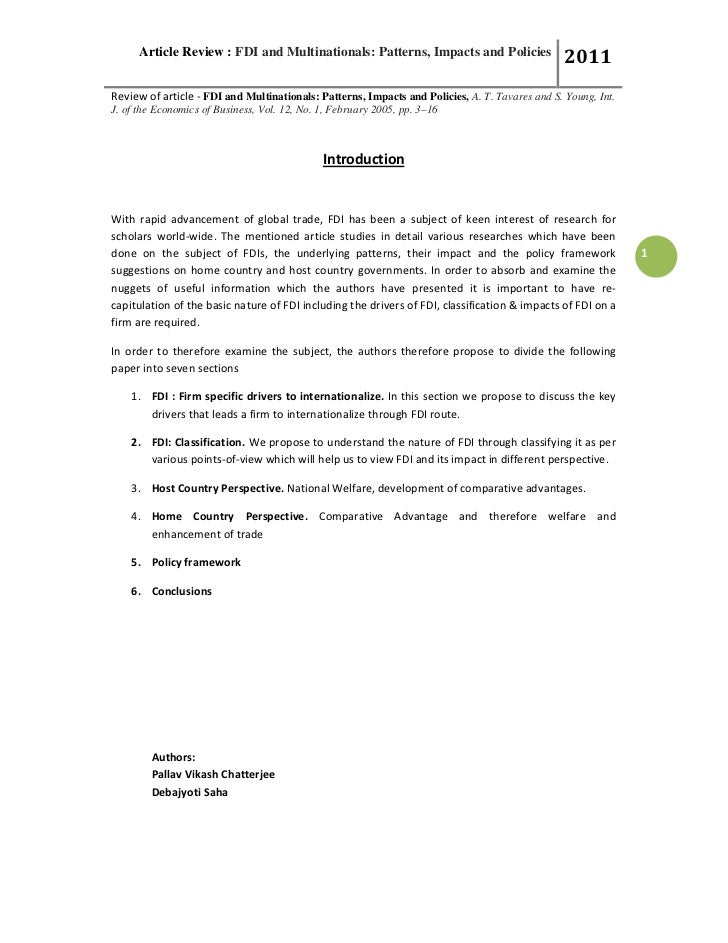 Article Review : FDI and Multinationals: Patterns, Impacts and Policies                    2011Review of article - FDI and...