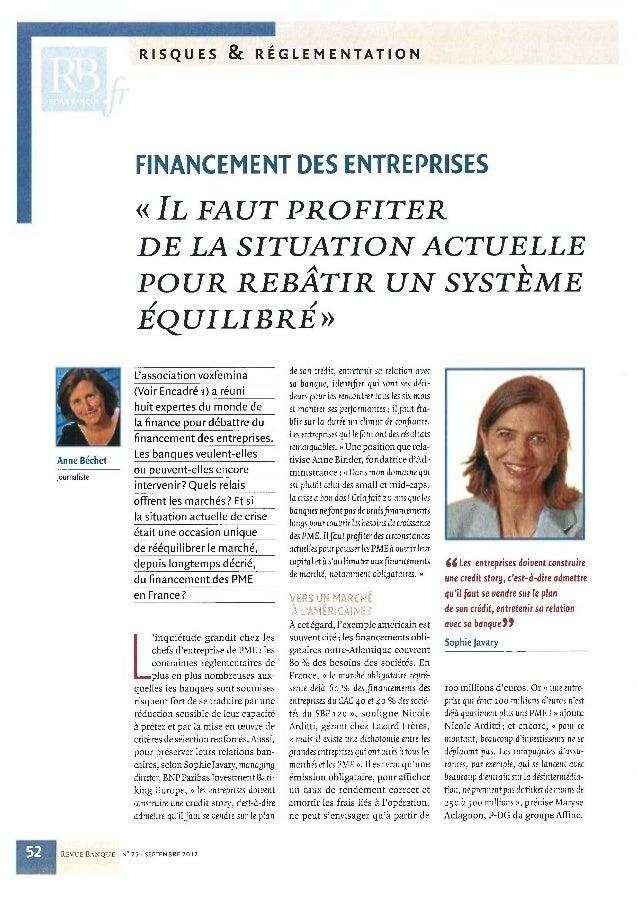 Article collectif des expertes voxfemina sur les nouveaux modes de financement des entreprises