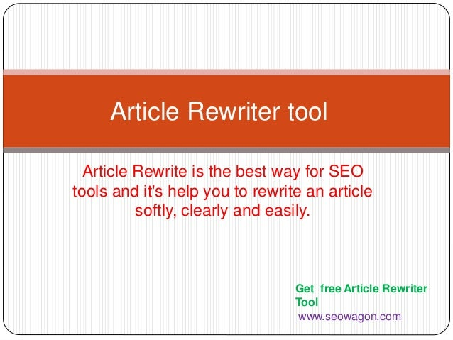 Free Article rewriter tool - Online seo tools