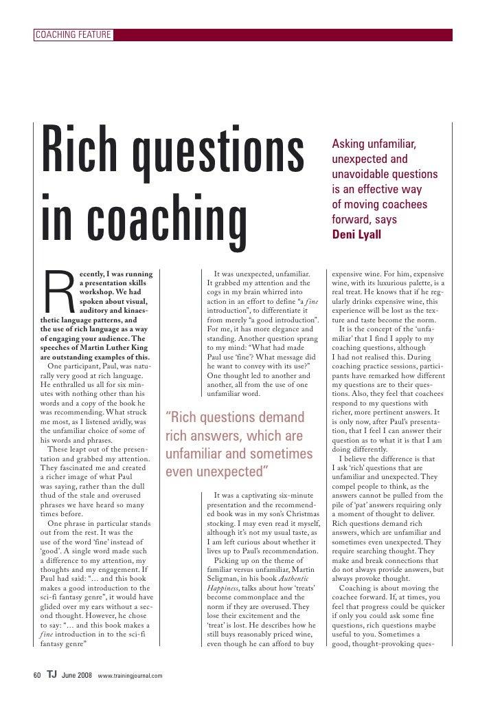 COACHING FEATURE      Rich questions                                                                             Asking un...