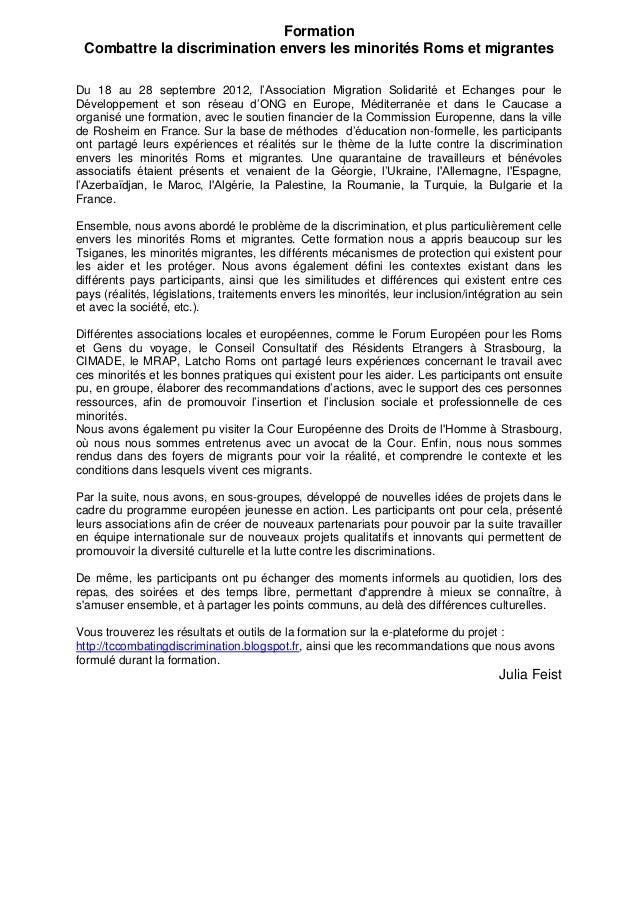 Formation Combattre la discrimination envers les minorités Roms et migrantesDu 18 au 28 septembre 2012, l'Association Migr...