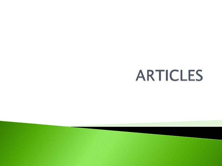 ARTICLES<br />