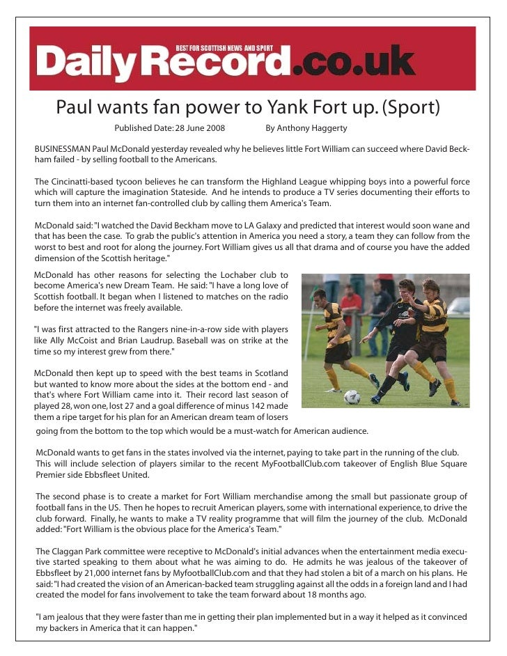 Paul wants fan power to Yank Fort up. (Sport)                      Published Date: 28 June 2008             By Anthony Hag...