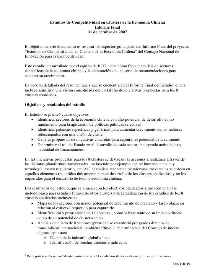 Estudios de Competitividad en Clusters de la Economía Chilena                                             Informe Final   ...