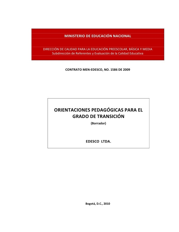 MINISTERIO DE EDUCACIÓN NACIONALDIRECCIÓN DE CALIDAD PARA LA EDUCACIÓN PREESCOLAR, BÁSICA Y MEDIA     Subdirección de Refe...