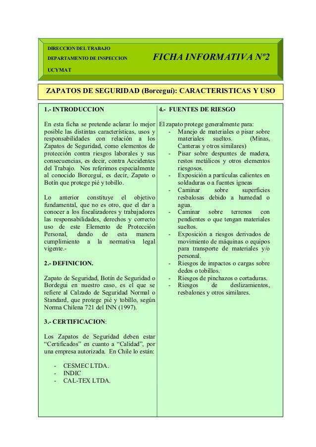 Las DIRECCION DEL TRABAJO DEPARTAMENTO DE INSPECCION FICHA INFORMATIVA Nº2 UCYMAT ZAPATOS DE SEGURIDAD (Borceguí): CARACTE...