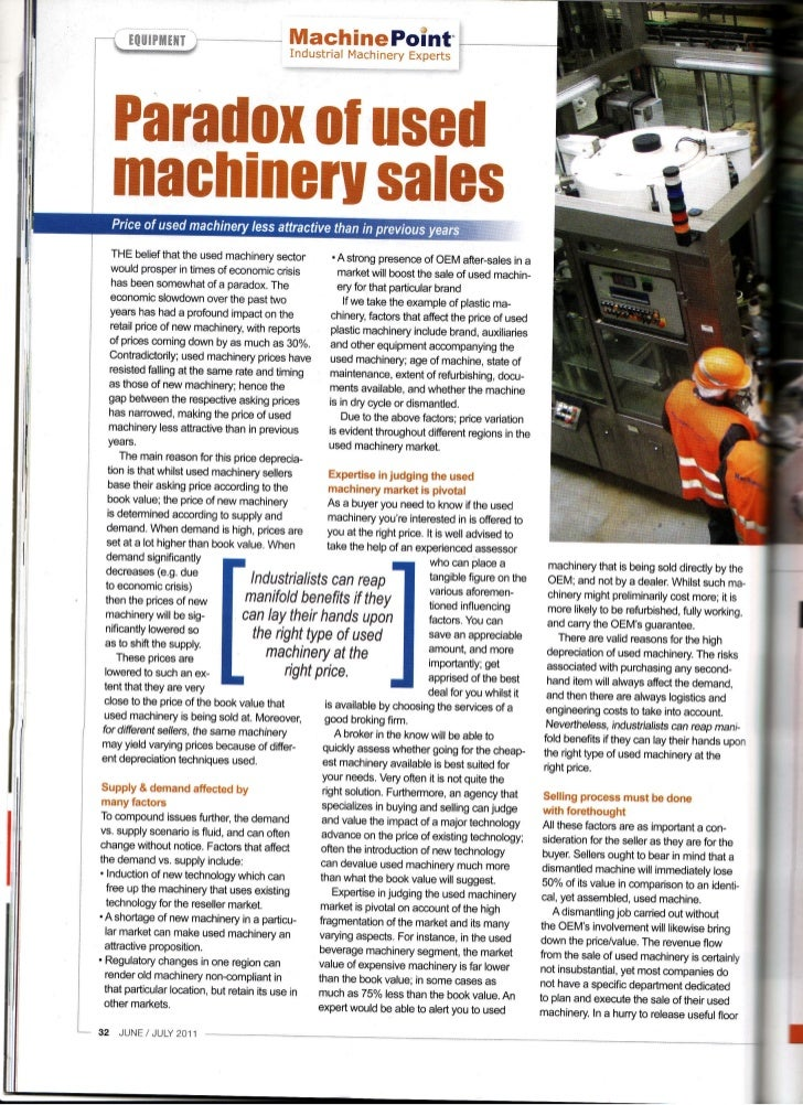 Paradox of Used Machinery Sales