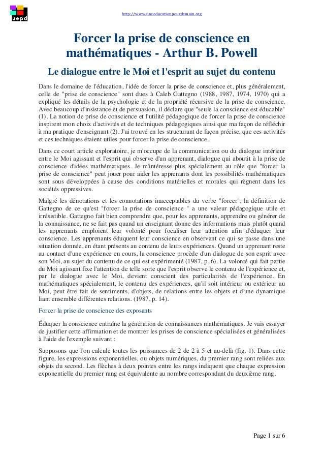 http://www.uneeducationpourdemain.org        Page 1 sur 6   Forcer la prise de conscience en mathématiques - Arthu...