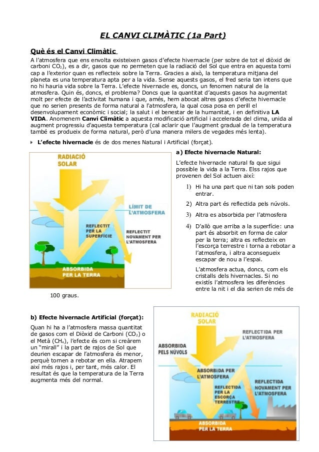 EL CANVI CLIMÀTIC (1a Part) Què és el Canvi Climàtic A l'atmosfera que ens envolta existeixen gasos d'efecte hivernacle (p...