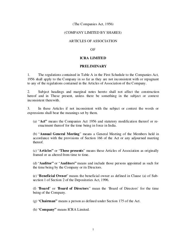 (The Companies Act, 1956) (COMPANY LIMITED BY SHARES) ARTICLES OF ASSOCIATION OF ICRA LIMITED PRELIMINARY 1. The regulatio...