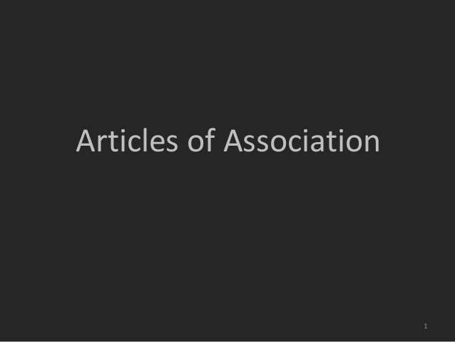 Articles of Association  1