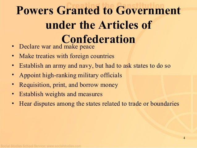 powers granted to congress by the articles of confederation