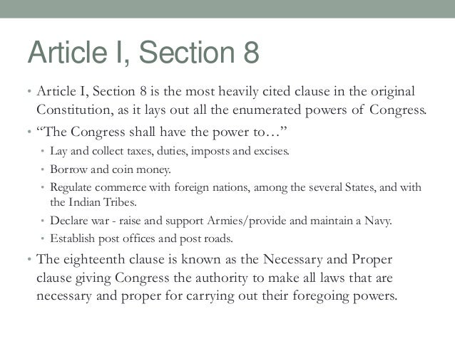 article i section 8 us constitution