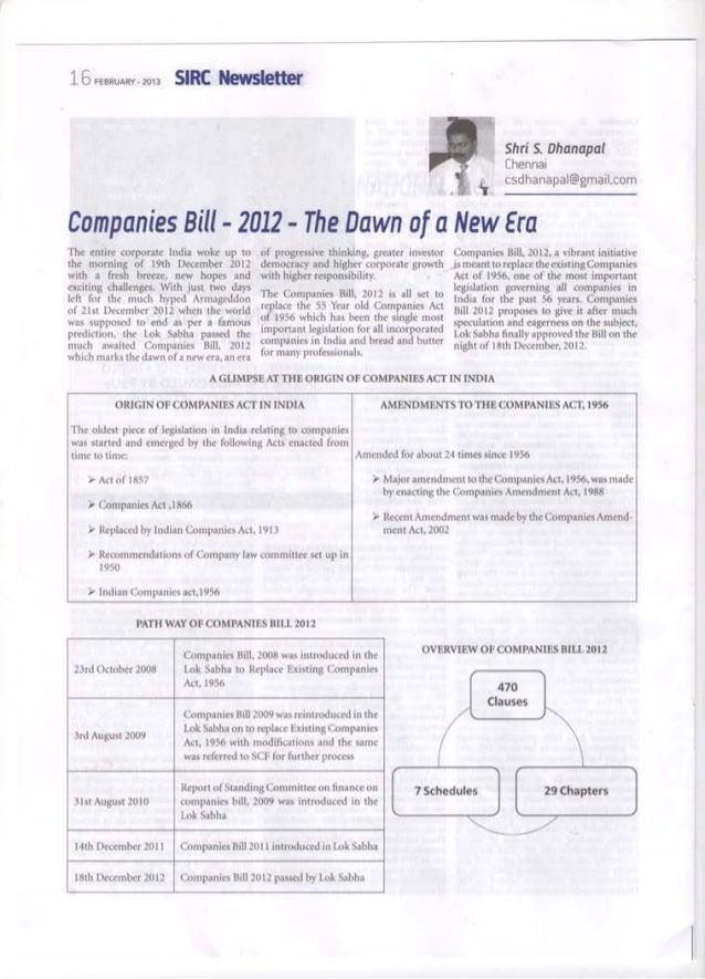 Articles on companies bill 2012 sir cof-icai