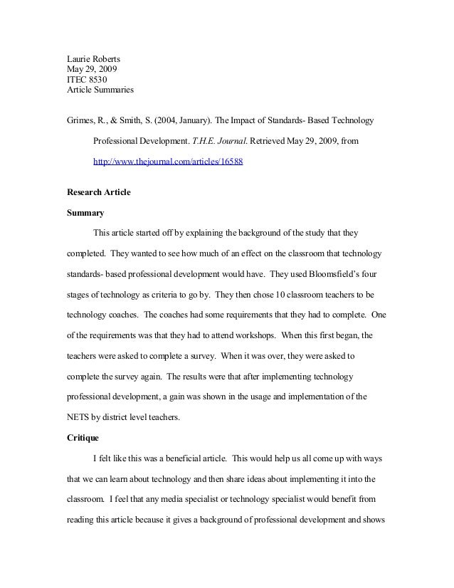 Laurie Roberts May 29, 2009 ITEC 8530 Article Summaries Grimes, R., & Smith, S. (2004, January). The Impact of Standards- ...