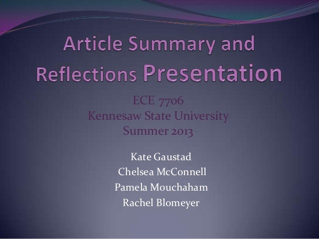 Article Summary and Reflections Group Presentation