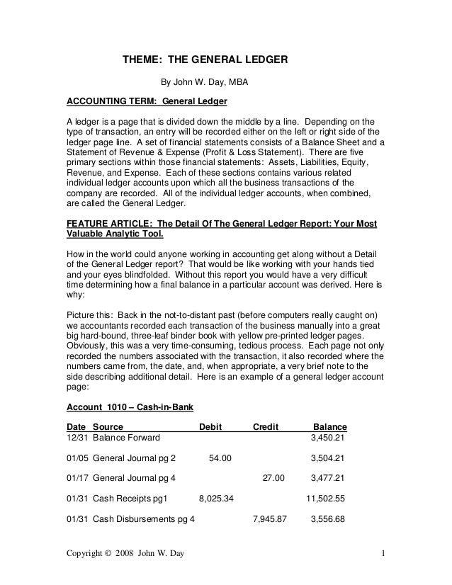 Copyright © 2008 John W. Day 1 THEME: THE GENERAL LEDGER By John W. Day, MBA ACCOUNTING TERM: General Ledger A ledger is a...