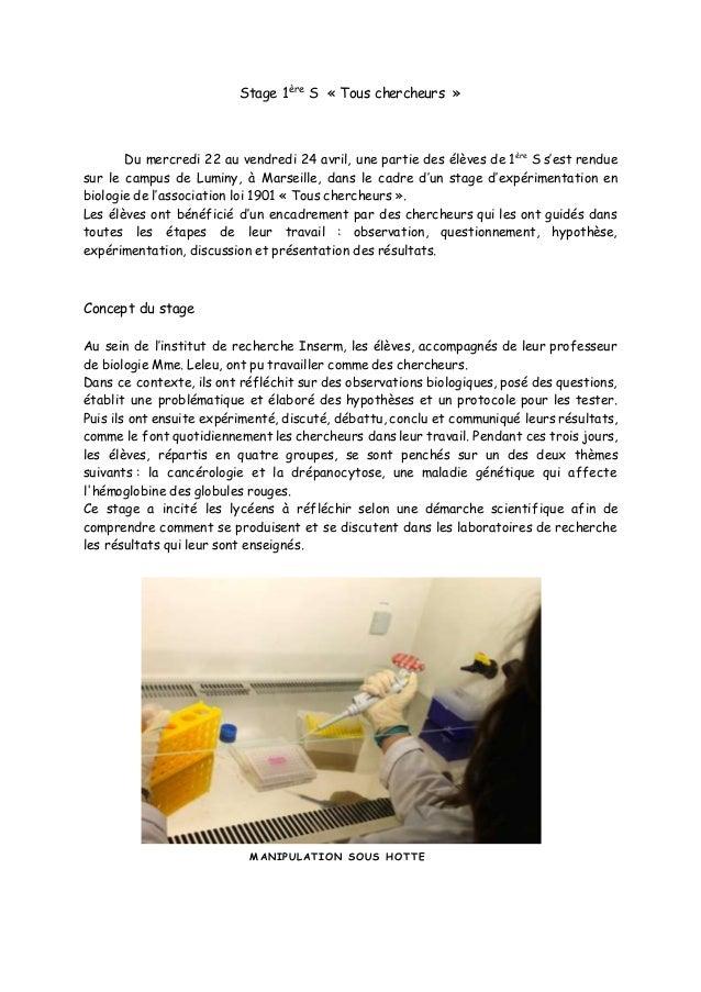 Stage 1ère S « Tous chercheurs » Du mercredi 22 au vendredi 24 avril, une partie des élèves de 1ère S s'est rendue sur le ...