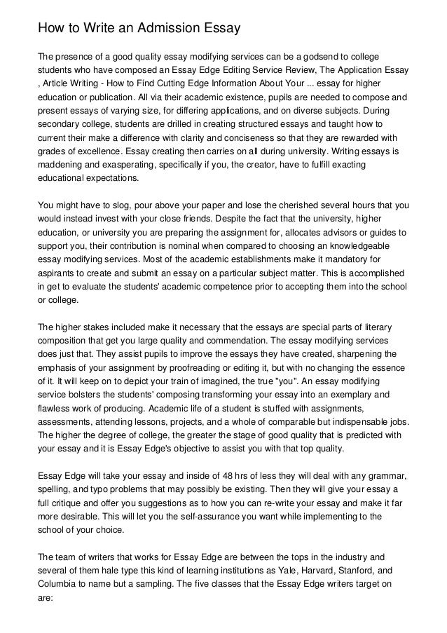 College Admission Essay Template